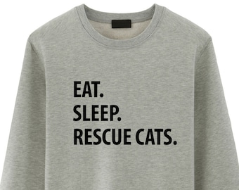 Cat Rescue, Eat Sleep Rescue Cats Sweater - 1222