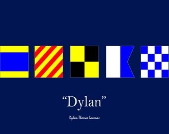 Custom Nautical Flag Name Print