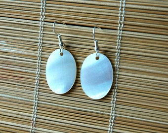 Shimmering Mother of Pearl Oval Pendant Earrings