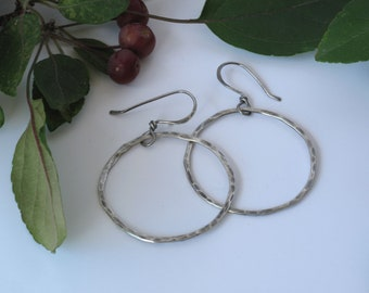 Hammered Silver Hoops - Thin & Oxidized