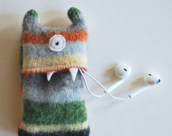 Gray Multi-Stripe Monster iPod Nano or Shuffle Cozy - iPod Case - Monster - Wallet - Eco-friendly - Upcycled - Coin Purse