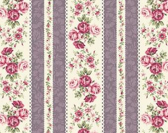 RURU Bouquet Rose For You  Cotton Fabric Quilt Gate RU2220-14D Rose Stripes Purple Cream