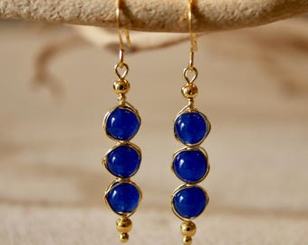 Handmade Wire Wrapped Dyed Blue Jade Drop Earring