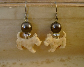 Dog Day Afternoon - Antique 1930s Celluloid Scottie Terrier Dog Rhinestone Pearls Recycled Earrings