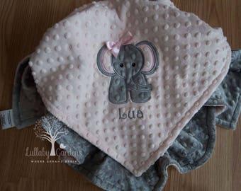 Elephant Personalized Minky Baby Blanket, Personalized Minky Baby Blanket, Personalized Baby Gift, Elephant Appliqued Minky Baby Blanket