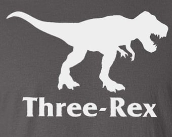 "Turning 3 Dinosaur Birthday Party - ""Three-Rex"" Toddler T-Shirt Son's or Daughter's 3rd Birthday Tee Gift for Three Year Old Boys Girls"