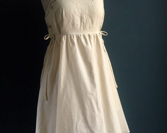 Women's Dress | Embroidered Linen with certified Organic natural silky soft cotton. 1940s design, hidden pockets, adjustable straps.