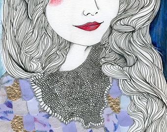 Mermaid Dreaming Sleeping Art Print, Purple Gold Sparkling Scales, Long Flowing Hair, Ocean Sea, Shimmer Red Rosy Cheeks, Collage Paper