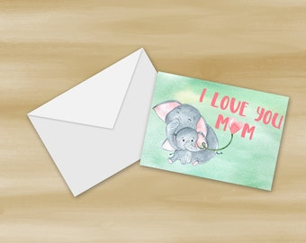 Watercolor Elephant Mother's Day Card Printable (Digital File Only)