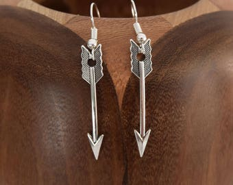 Clip earrings silver metal arrows, arrows silver