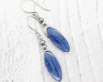 blue kyanite earrings, fresh water pearl, sterling silver, briolette earrings, blue gemstone earrings, sterling silver, kyanite jewelry