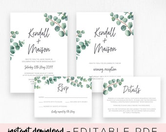Editable wedding invitation Suite | Printable invite template set | Eucalyptus | Greenery | Watercolor | PDF Download | Kendall #087_05