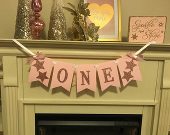 Twinkle Twinkle Little Star First Birthday, Highchair Banner, First Birthday, First Birthday Girl