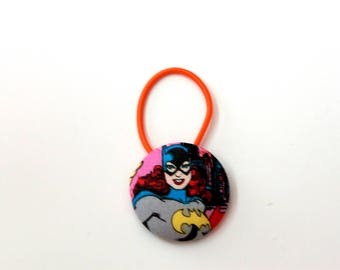 Bat Girl Fabric Covered Giant Button Ponytail Holder