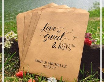 Wedding Favor Bags, Love Is Sweet And A Little Bit Nuts, Wedding Favors Personalized Cookie Bags Candy Bar Bags Set of 20 Style 026