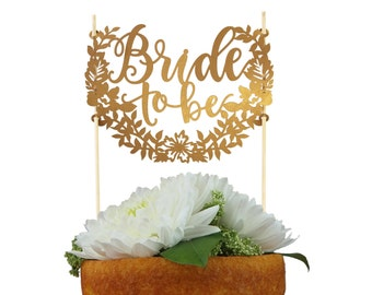 Bride to Be gold paper Cake Topper