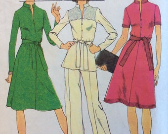 Simplicity 6666 misses dress or top and pants size 14 bust 36 vintage 1970's sewing pattern