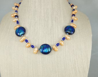 Lampwork and Freshwater Pearl Necklace, Blue Necklace, Apricot pearl necklace, Blue earrings, Lampwork Necklace,  Item #510