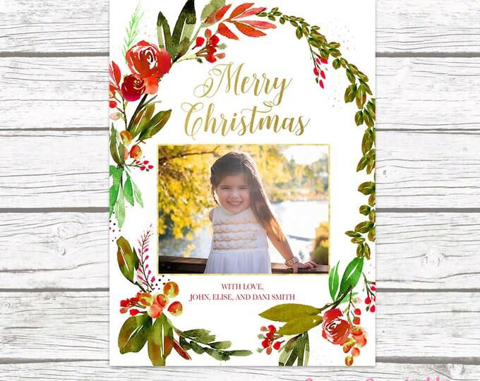 Floral Christmas Card, Christmas Photo Card, Wreath Christmas Card, Holiday Photo Card, Christmas Picture Card, Holly Christmas Card