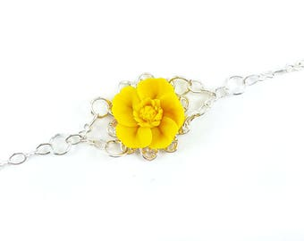 Buttercup Clasp Bracelet - Buttercup Jewelry, Buttercup Filigree Bracelet, Yellow Buttercup