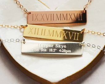 Rose Gold Bar Necklace - Engraved Bar Necklace - Baby Stats Birth Necklace
