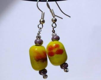 Yellow red flower earrings