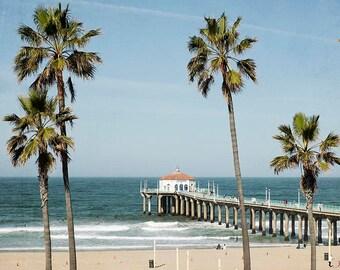 """Manhattan Beach, California Photography, Palm Trees, Blue Aqua Beach Decor, Manhattan Pier, Summer Beach Photograph """"Manhattan Pier"""""""