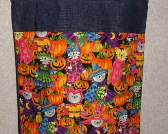 New Small Handmade Halloween Pumpkins Whimsical Cats Trick or Treat Denim Tote Bag