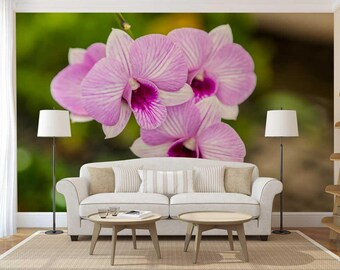 Wall Mural Floral, Orchid Wall Decal, Flower Wall Covering, Orchid Wall Mural