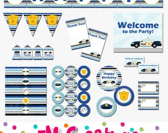 Police Birthday Party Printable Decorations Package - Police Party Printables -Police Decor Banner Cupcake toppers INSTANT DOWNLOAD Pdf