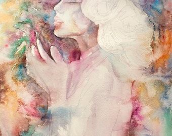 Watercolor Print. Wall art portrait of young lady with a bird in her hands. The Mother. Woman In Love. Full color.  Digital print.