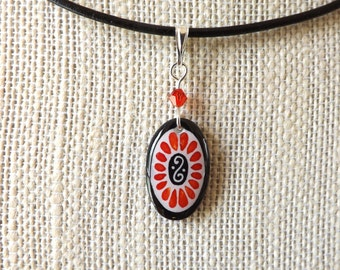 ECO Scarlet Oval  Pysanky Batik  Pendant Necklace