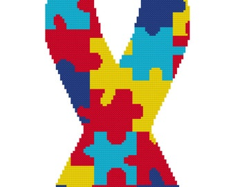 "Autism Ribbon Cross Stitch (7""x15"")"