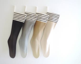Neutral Christmas Stocking Personalized Christmas Stocking Neutral Ombre, Boy Girl Family Pet Stripe Sherpa Fur Cuff Classic All Ages, Frost