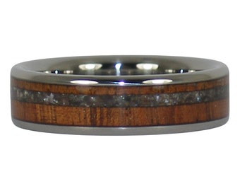 Black Pearl and Koa Wood Titanium Ring