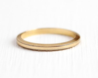 Sale - Vintage Wedding Band - 14k Rosy Yellow Gold Milgrain Border Minimalist Plain Ring - 1950s Size 5 1/2 Mid Century JR Wood Fine Jewelry