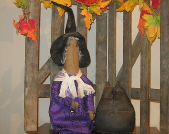 Witch and Cat Shelf Sitter, Halloween Decoration, Prim Witch, Witch Doll, Prim Cat, Fall Centerpiece,FAAP~HAFAIR