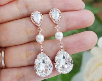 Wedding Jewelry Bridal Earrings Bridesmaid gift Bridesmaid Earrings CZ ear posts with Swarovski Crystal and Pearls drop dangle Earrings