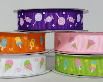 "7/8"" Grosgrain Candy & Ice Cream Ribbon - 10 Yards"