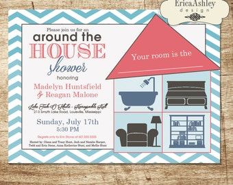 Around the house shower invitations etsy around the house wedding shower invitation 5 x 7 professionally printed envelopes included filmwisefo Images