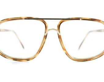 Vintage 1980s Unique Translucent Amber Tortoiseshell Square Aviator Eyeglass Frame - Solaris