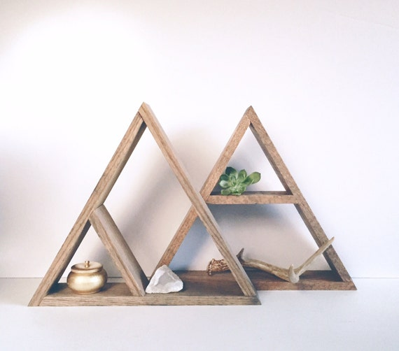 Von Hand gefärbt Dreieck Holz-Regal Wohnkultur Lagerung