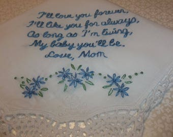 I'll like you for always, Mom to daughter, wedding handkerchief, hand embroidered, something blue, bridal gift, blue for bride, keepsake