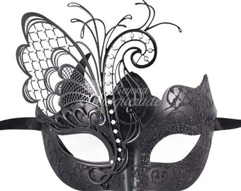 Masquerade Mask, Mardi Gras Mask, Black Butterfly Costume, Masquerade Ball Mask, Mardi Gras Party Mask