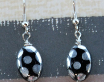 Silver and Black Oval Dangle Earrings