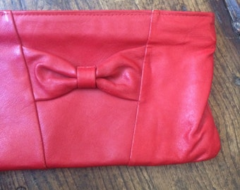 SALE WAS 12 Vintage Red Leather Clutch Bag. Bow Detail. Zip Closure. Autumn Winter Fashion. Gift Idea For Her