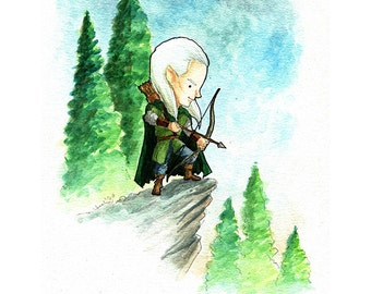 Lord of the Rings Legolas Watercolor Print