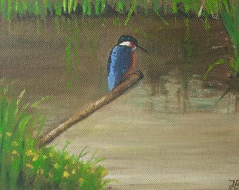 Kingfisher,Slimbridge, small unframed original oil painting, oil on canvas 5x7""