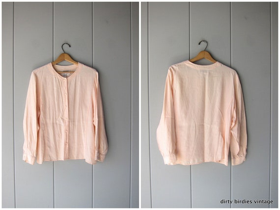 Pale Pink Rayon Top Boxy Button Up Blouse Womens Slouchy Dolman Sleeve Collerless Shirt Minimal Vintage 80s 90s Tee Womens Medium Large