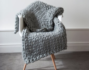 Chunky Knit Blanket Throw Merino Wool Blanket Home decor interior UK seller